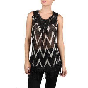 RYU sheer lace sleeveless black and cream top